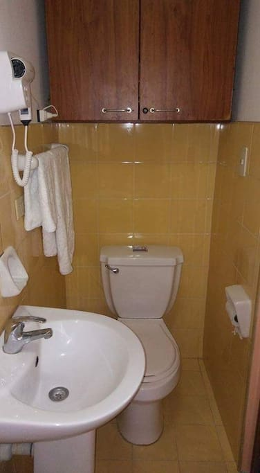 Bagno privato Cuarto Naranja. Dotato di doccia, dispenser saponi e shampoo, asciugacapelli e asciugamani in spugna di puro cotone 100%