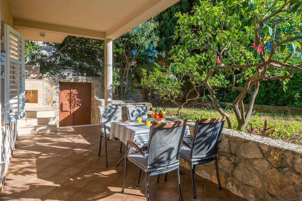 Beautiful Terrace for relaxing and enjoying food&drinks outside. Apartment has a separate entrance as well.