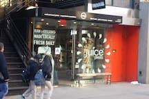 Organic juices just one block away - yum