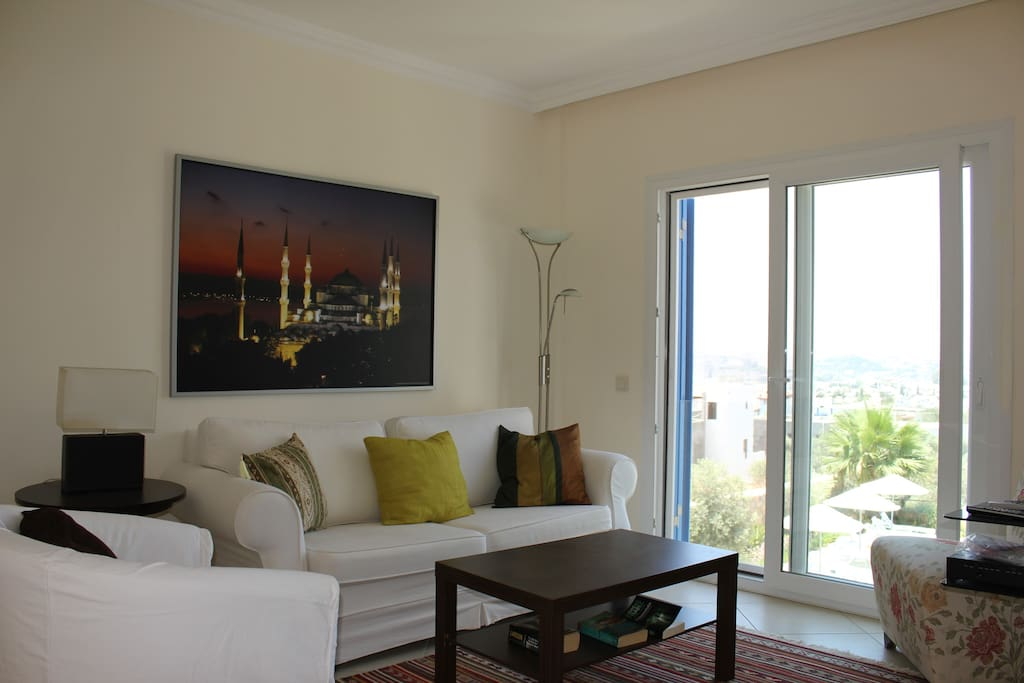 Livingroom with a fantastic view of Bodrum