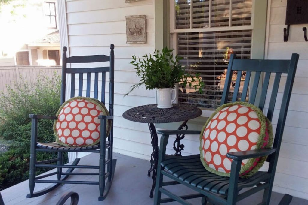 Inviting front porch in VERY upscale neighborhood