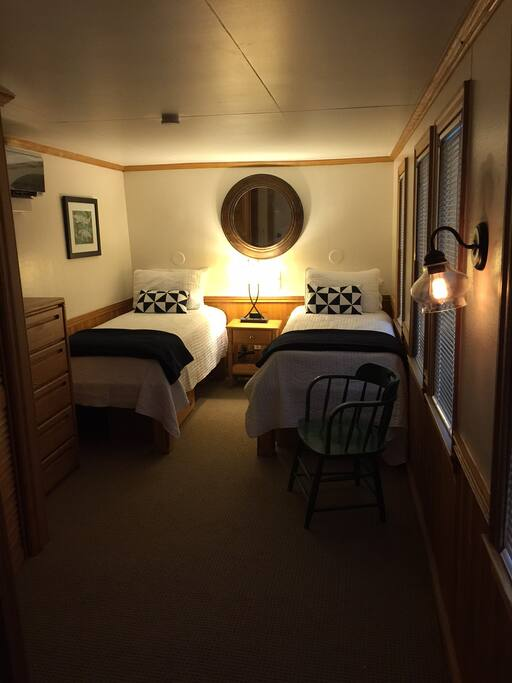 Example of a Bedroom-all have twin beds, private bath and closet.