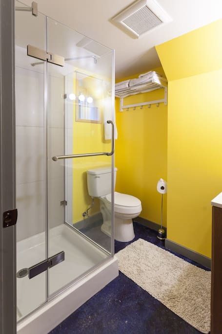 brand new modern bathroom with stand-in shower