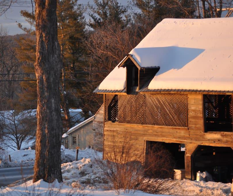 Historic barn at sunset.