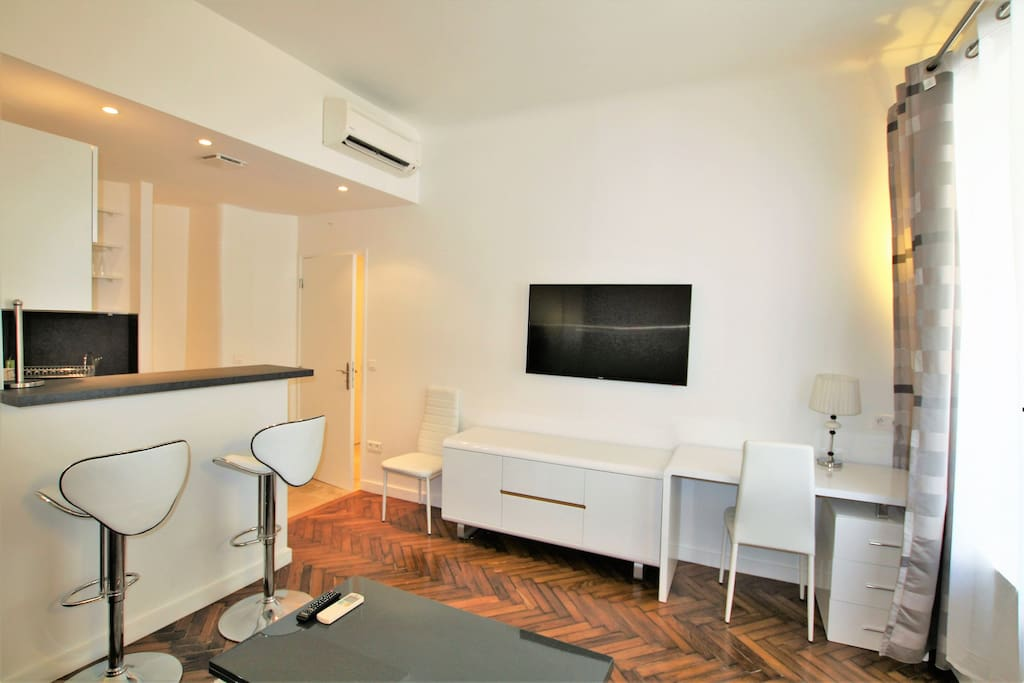 apartment equipped with TV, WIFI, air conditionner, desk area