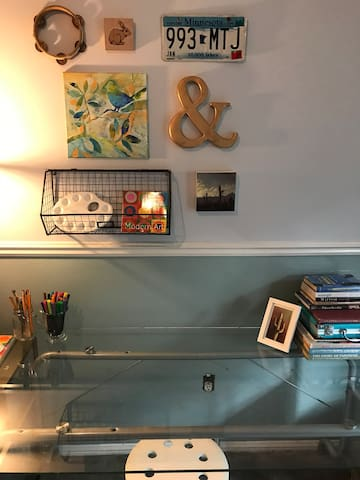 A large desk to do your work on or to play with art materials.