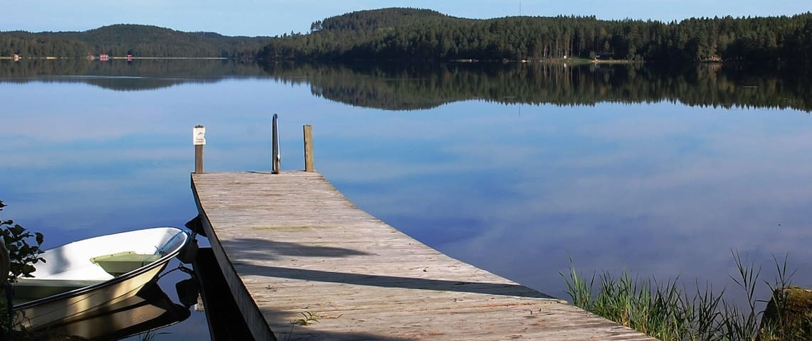 In lake Tången you have a rowing boat and a canoe
