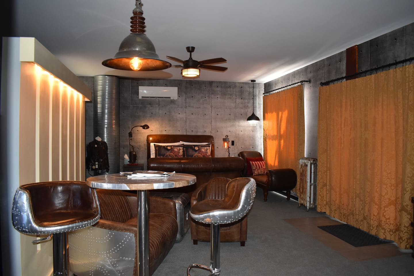 Metal & Leather Steampunk Suite with Riveted Steel Table & Bar Stools, Leather Sofa, Chair, Bed & 1890's Chaise Longue