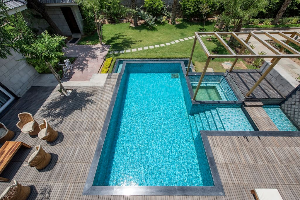 Swimming pool along with the villa