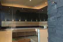 Sauna with glasswalls