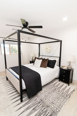 The canopy room is ripe with style for your family or friends.