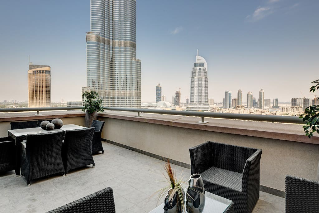 Spacious terrace which is the USP of this Apartment over looking Majestic Burj Khalifa!
