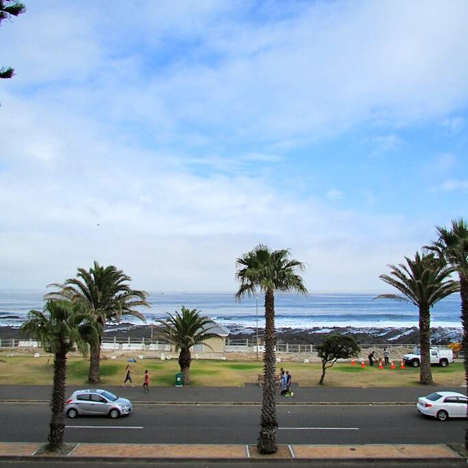 The view from our balcony overlooking Sea Point promenade, great for sunset drinks and early morning walks