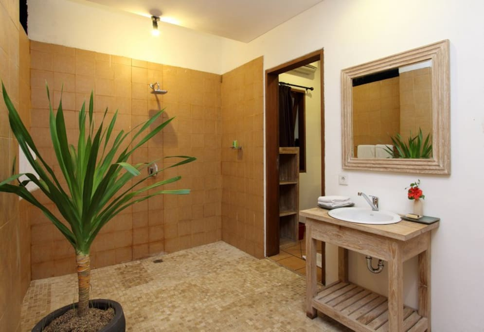 Semi open Bathroom and Hot and cold shower