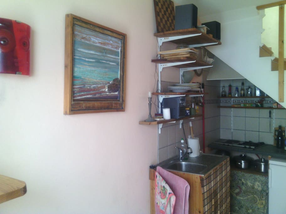 kitchen niche with games (chess, domino, cards...)