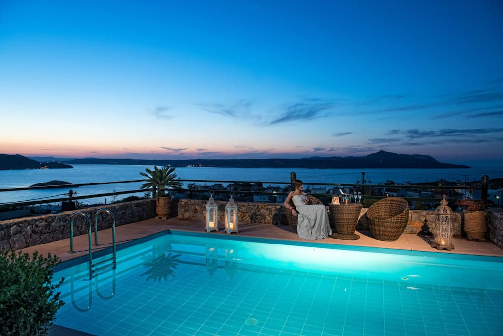 Pool area and view by night