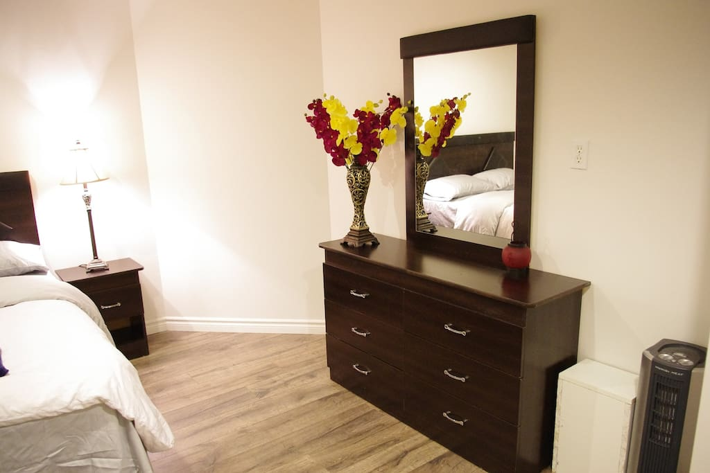 Renovated bedroom.