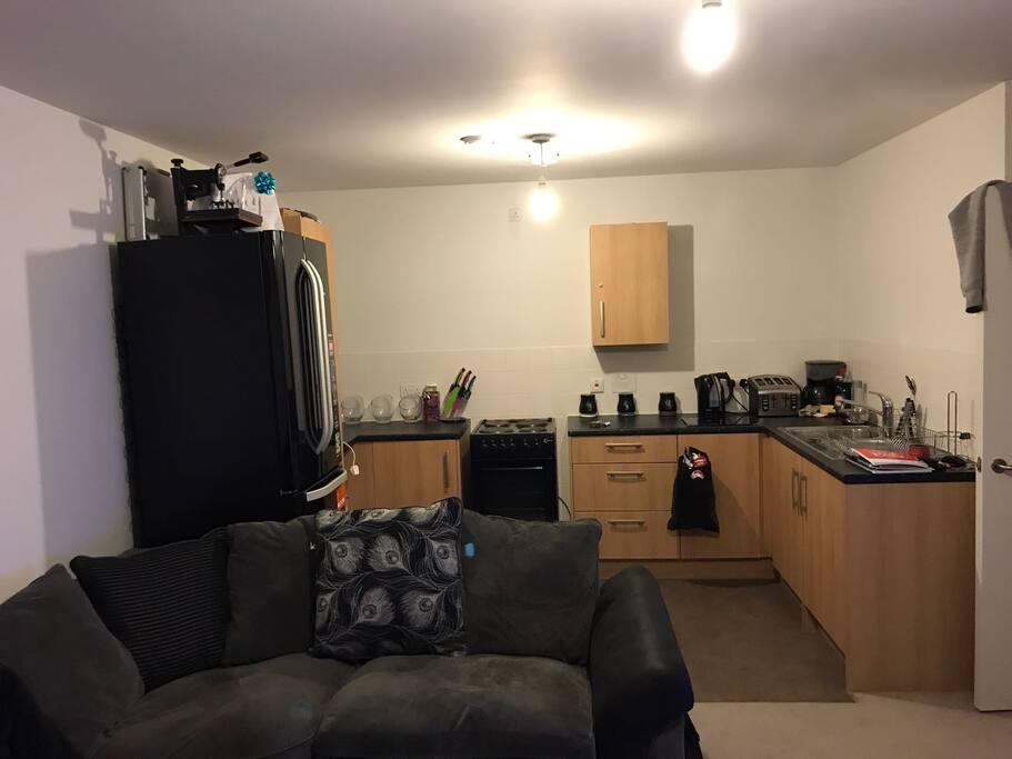 Open plan kitchen inside living room