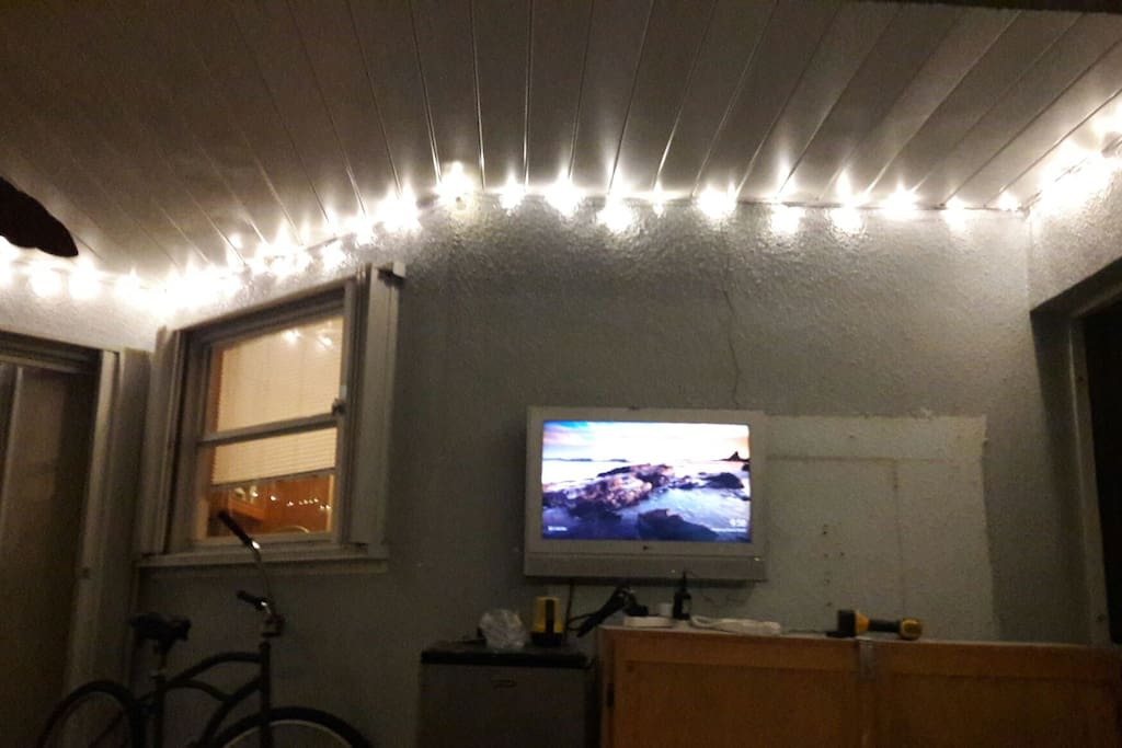 Patio at night, use your cell to Chromecast anything from ur phone to the TV.