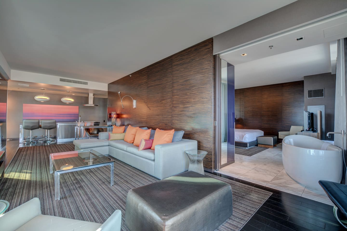 Living room is separated from the 1 bedroom with a sliding door