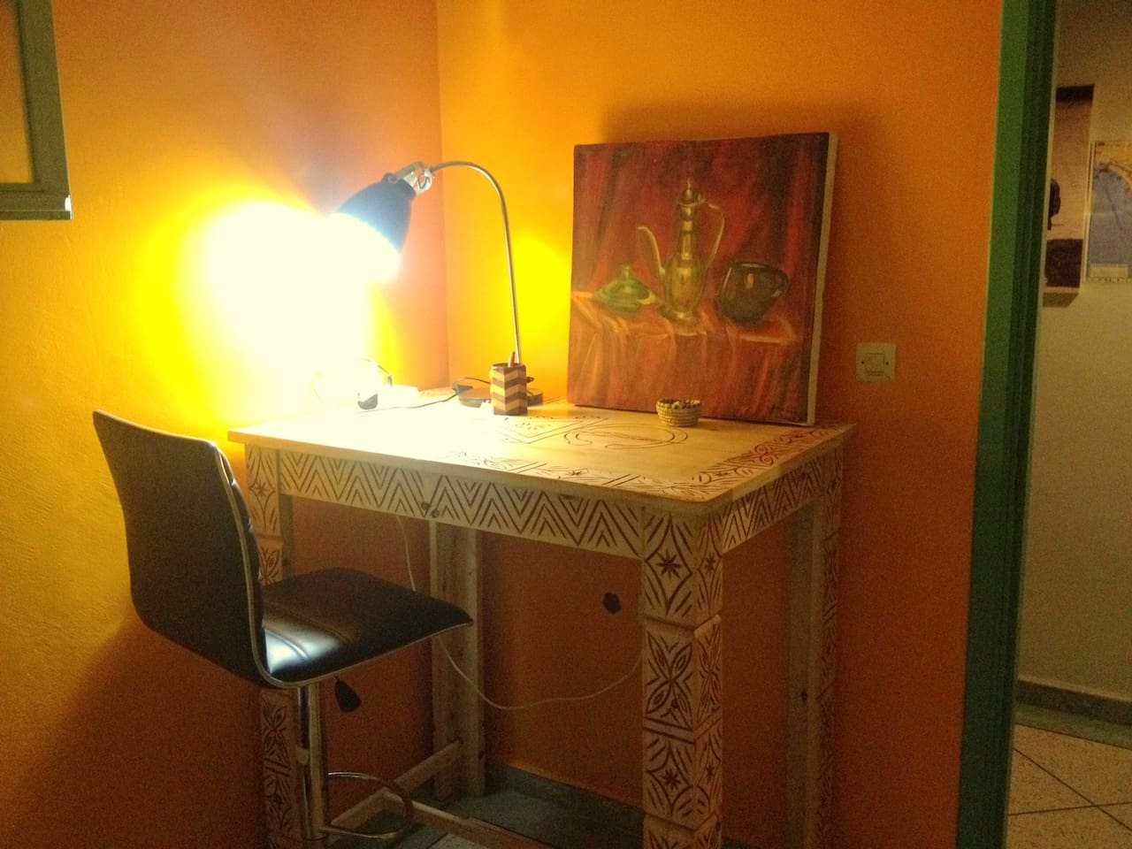 There are 2 tables like this one available for you either for working or eating. Up to you! Make it feel like your home!