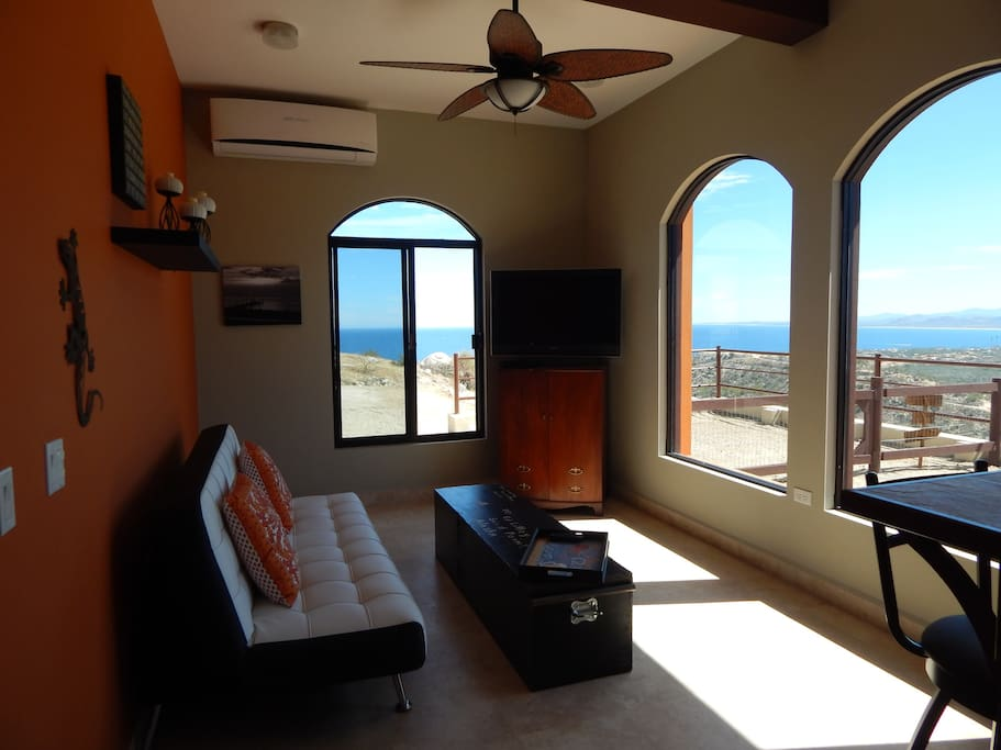 Big picture windows frame out views of the Sea of Cortez, and the town of Los Barriles.