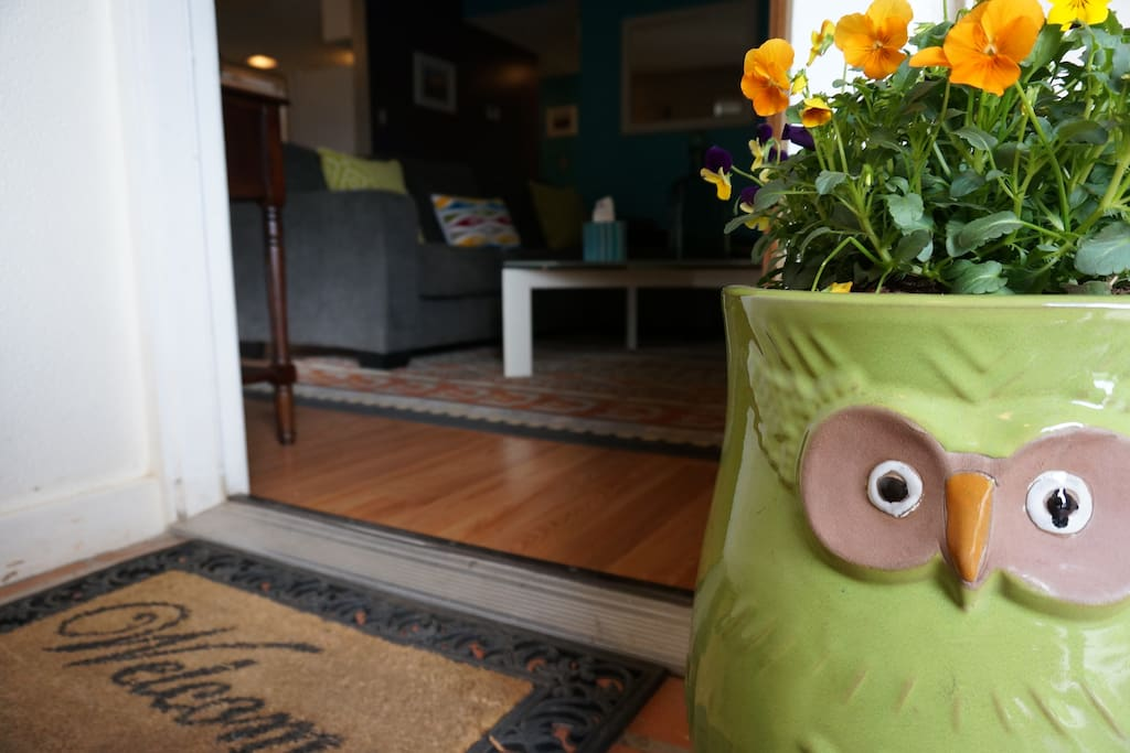 Welcome! Whoooo....Who. Small covered front patio.