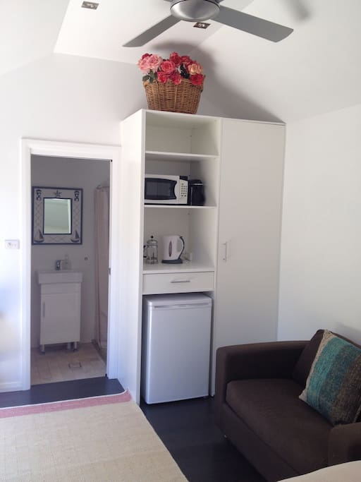 Kitchenette & Closet. Lofted ceiling with three speed ceiling Fan. Fully tiled Bathroom with Shower, Sink, Toilet.
