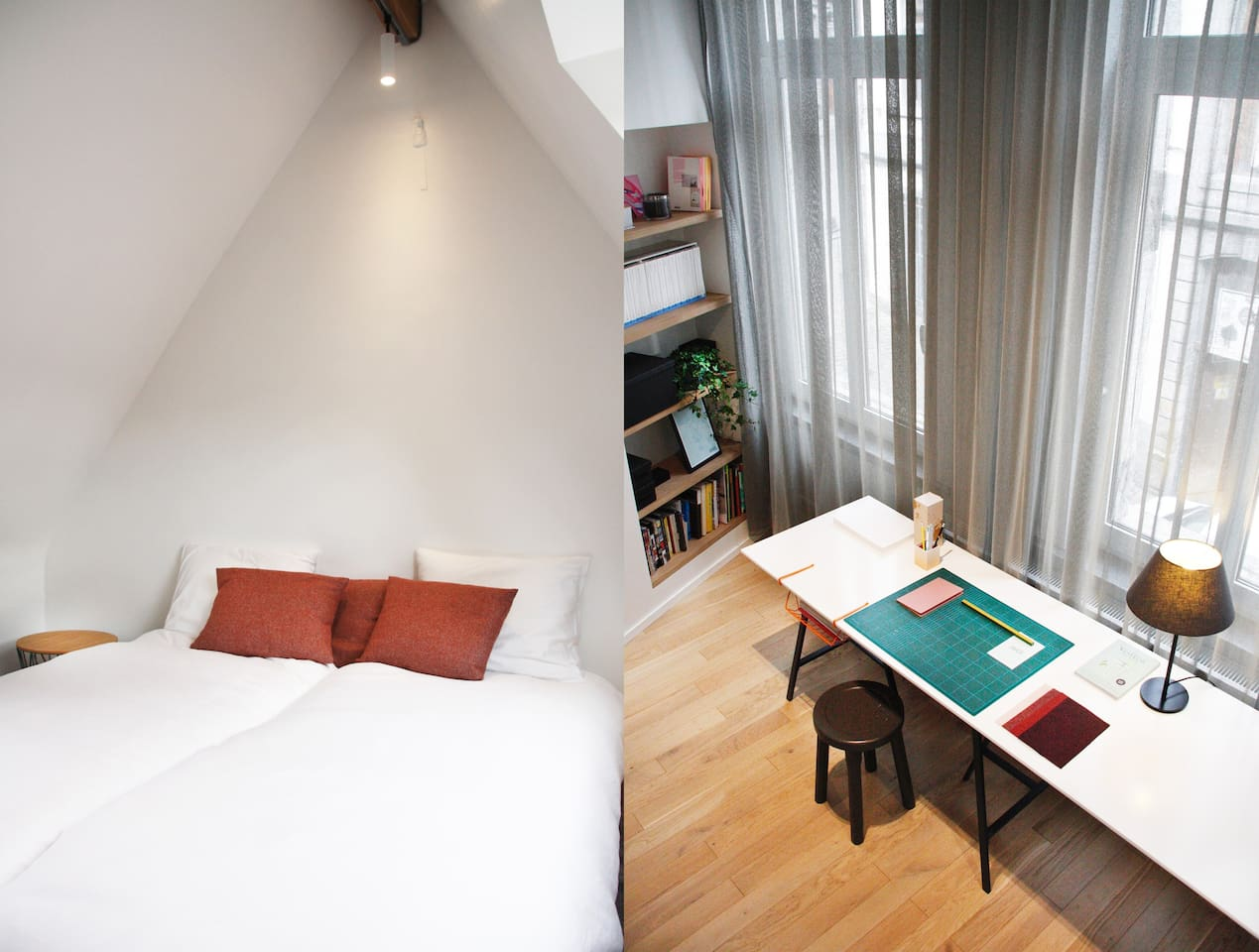 Mezzanine bedroom, double bed which can be split for 2 single beds + Shared office space