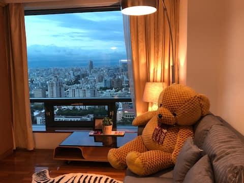 Taichung City 双床房《Natasha高樓絕美夜景》勤美草悟道(空間寬敞 連續住宿優惠)