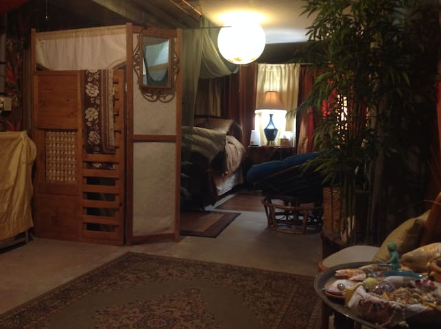 The downstairs is roomy; the sleeping area is partitioned for privacy.