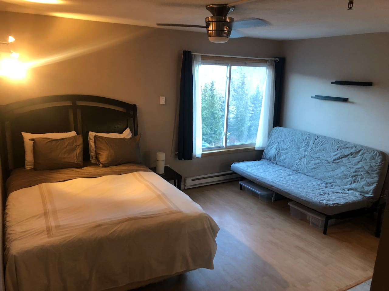 Studio Setup - Clean, Simple, your home away from home. Queen Bed, with new Queen Sized Ikea convertible bed.