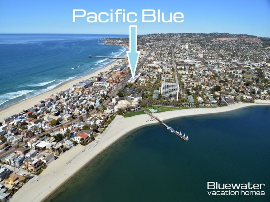 Ideally located one block from the beach and the bay