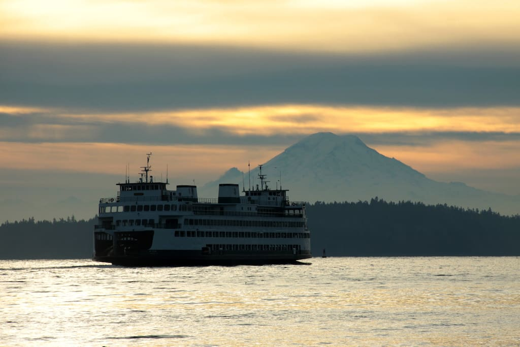 Ferry on Rich Passage, Mt. Rainier