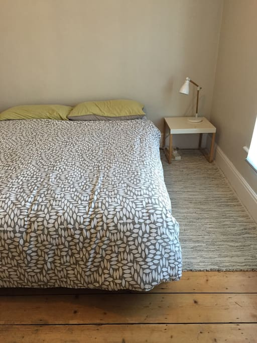 Comfortable double room. This is room 2. Smaller than room 1. Next to the bathroom. Lamp, hair dryer and fresh towels.