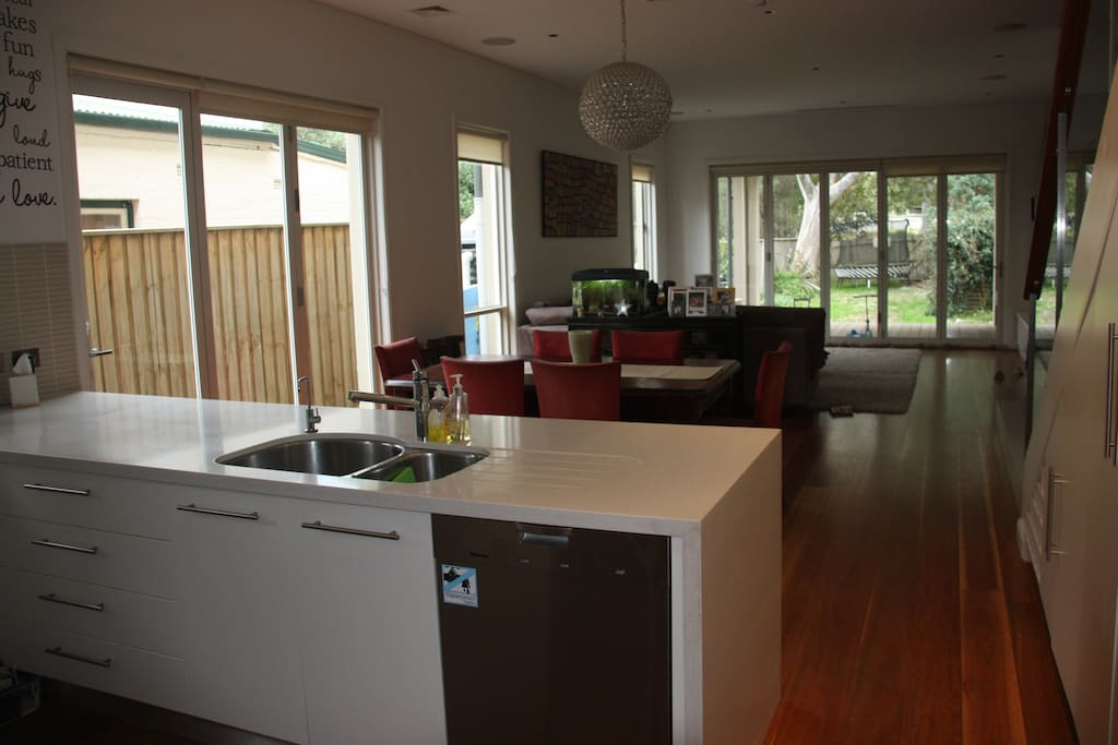 Modern kitchen: Kitchen include fridge, oven, gas top, microwave and filtered water tap.
