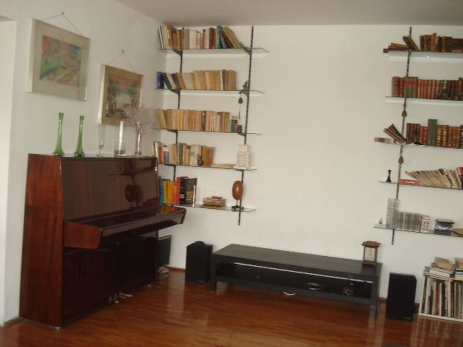 Living room with a piano for talented musicians