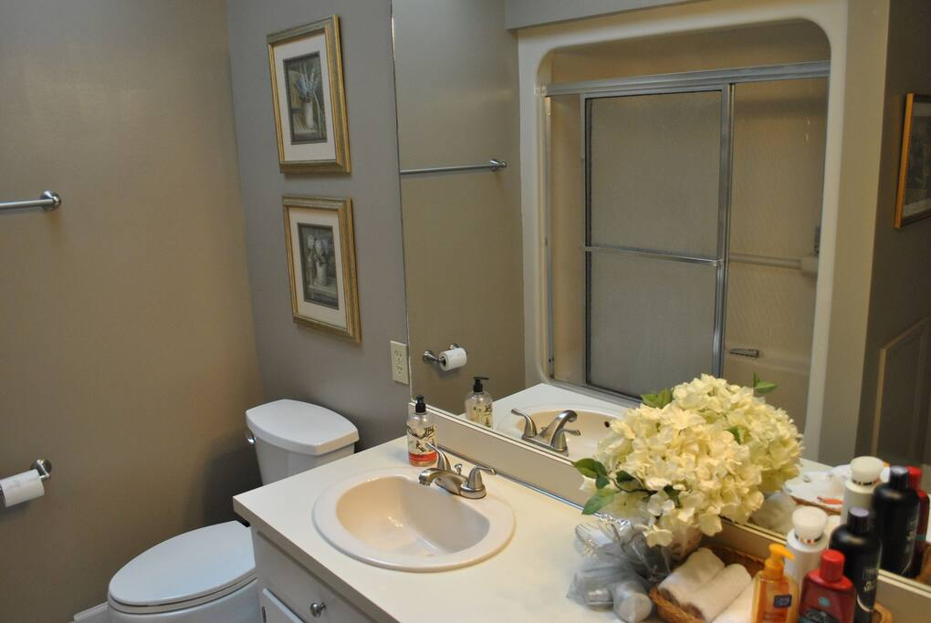 Bathroom with tub and double sink may be shared if there are guests in the cherry room.