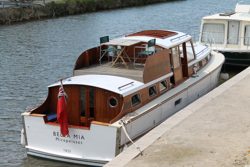 Bella Mia is a classic broom cruiser originally built to order for '50s British racing driver A.F. Rivers-Fletcher...we bought her 20 years ago and have spent much of this restoring her.