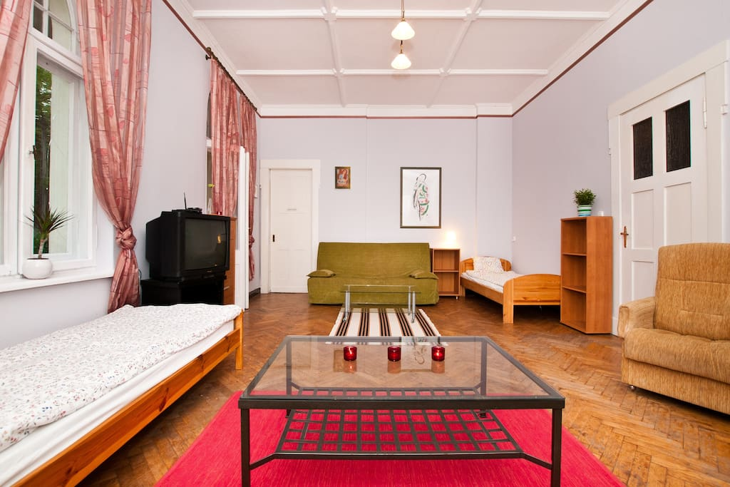 Room number II+III - two rooms connected as one. - double beds and single beds. Up to 10 places to sleep. Private terrace