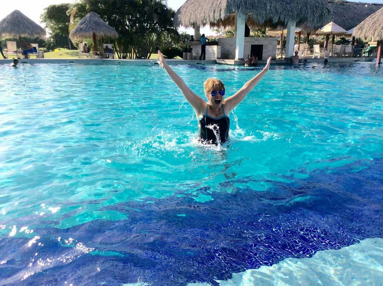 Enjoying the casa club pool.