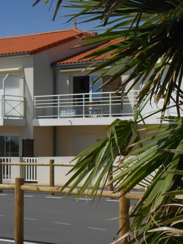 T2 balcon vue  sur mer, plage à perte de vue à 50m