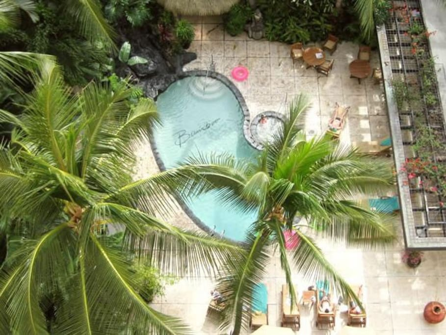 Aerial view of the pool area.