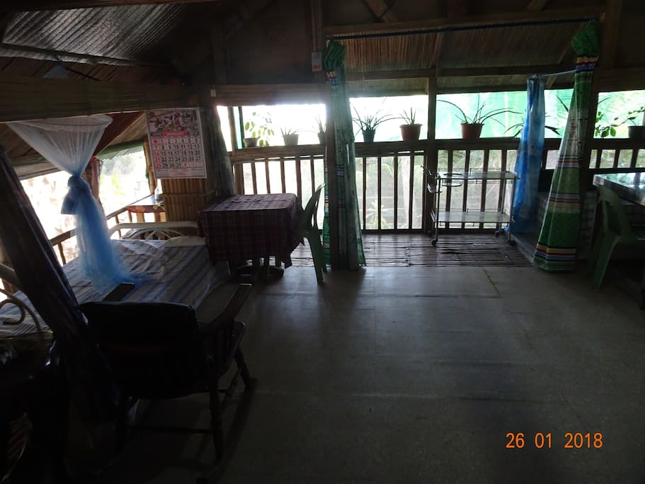 This is the main area practically a one room elevated house front beach view, with bath tub and toilet inside.  If you are looking a different place for a change, this will be the one....