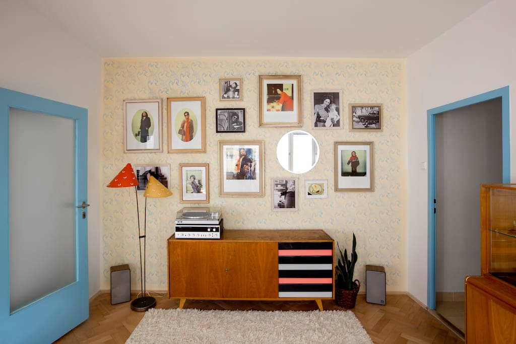 LIVING ROOM: in this installation two young photographers pose as a perfect Czech  family of the 60s