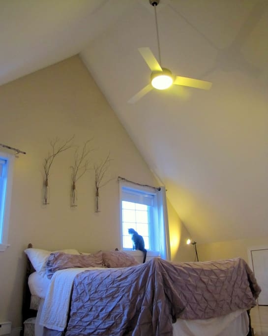 With a vaulted ceiling, and a fan for those hot summer days