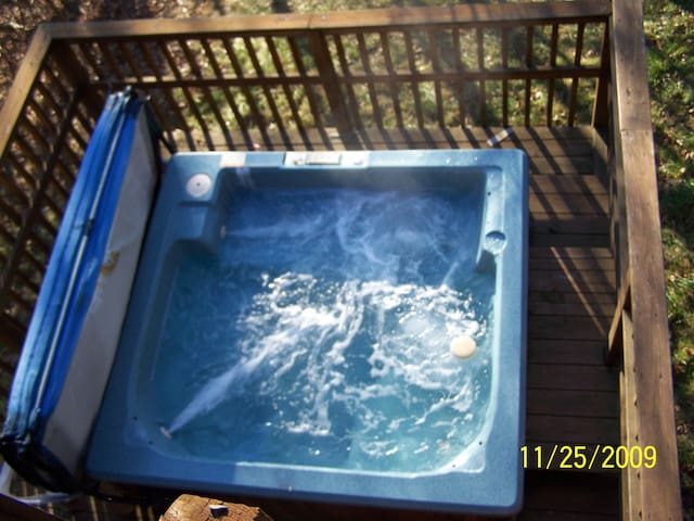 Large hot tub on lower deck.  Beautiful view of the stars at night!