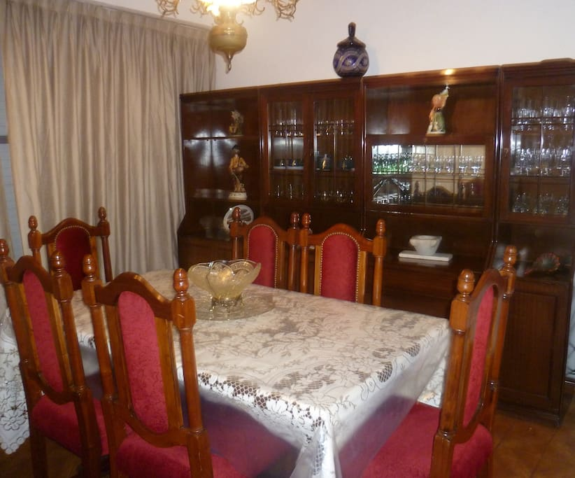 Formal air-conditioned dining area with fine crockery enough for 6 people
