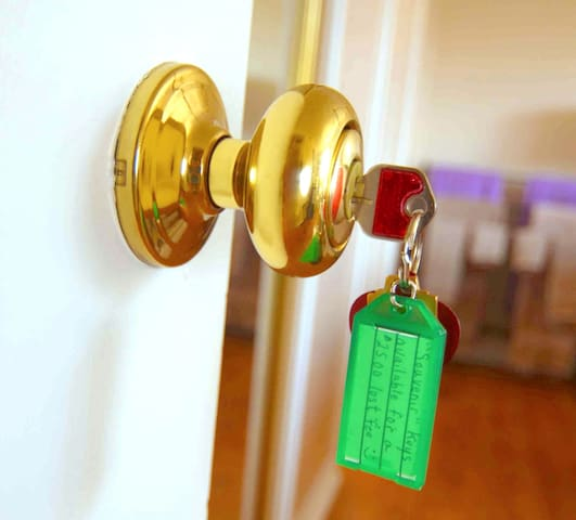 Your personal belongings can be locked while you are not on the premises  and from the inside while you are  occupying the room.  There is a locksmith fee  ($125) for re-keying if the key is taken & not available by 6 pm of the day you check out.