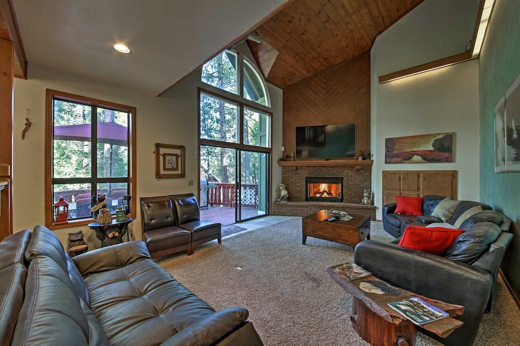 The vaulted ceilings and earthy decor foster a serene and peaceful environment for further relaxation.